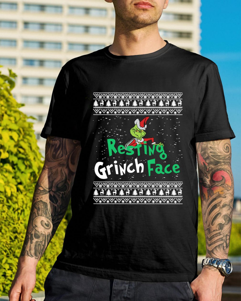 The Grinch resting Grinch face Christmas Guys Shirt