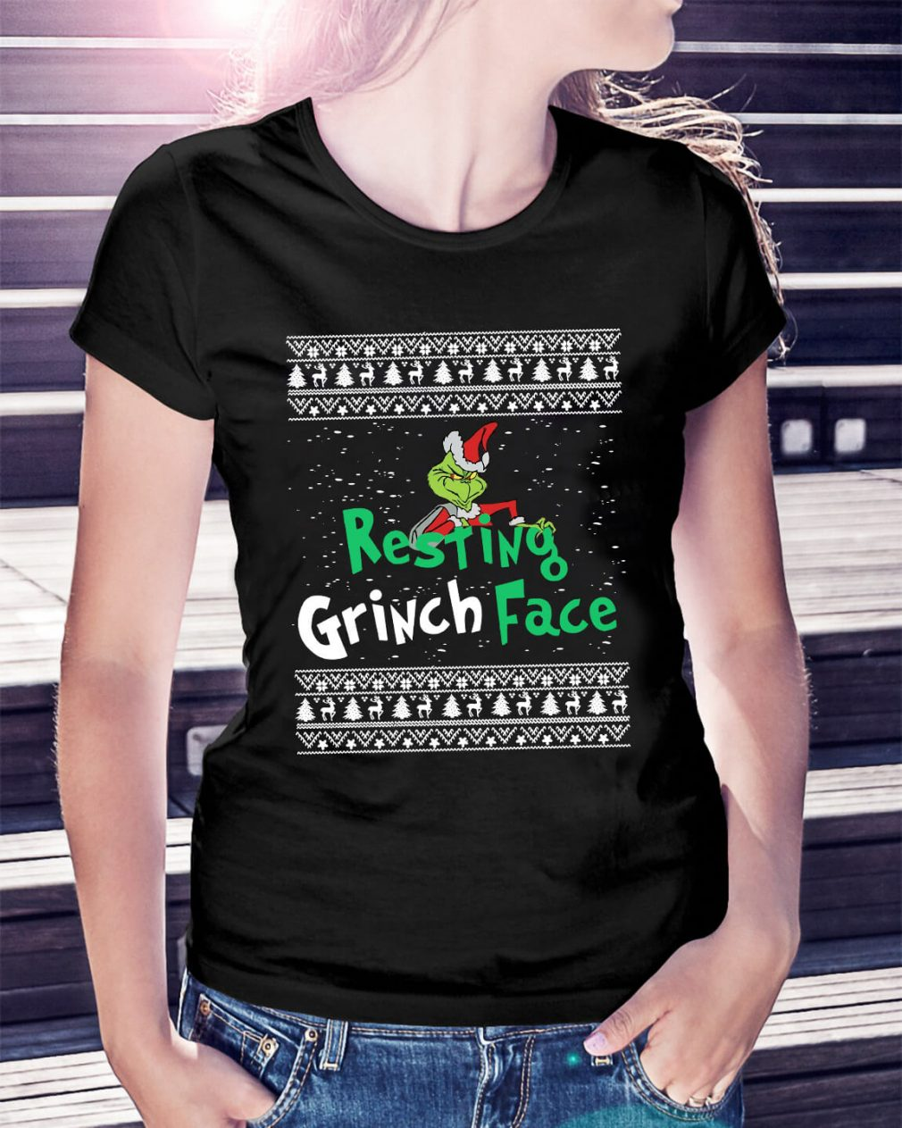 The Grinch resting Grinch face Christmas Ladies Tee
