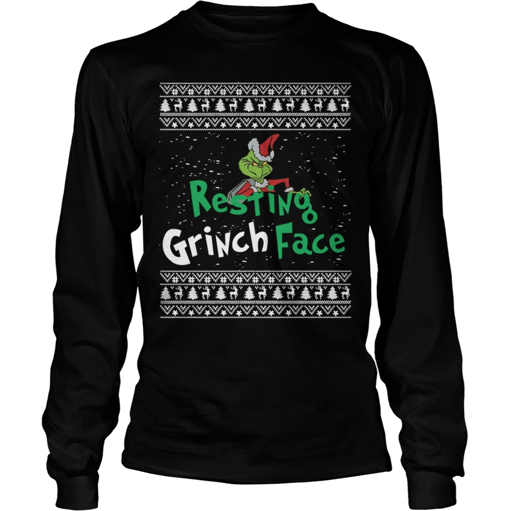 The Grinch resting Grinch face Christmas Longsleeve Tee