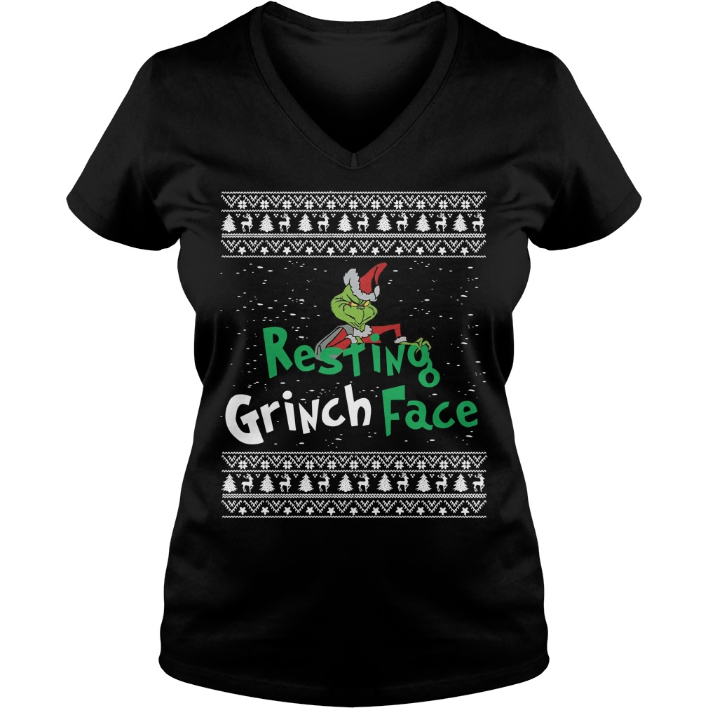 The Grinch resting Grinch face Christmas V-neck T-shirt
