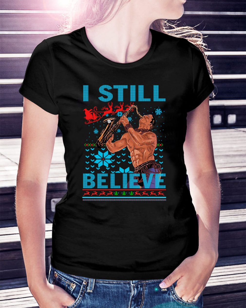 The Lost Boys I still believe ugly Christmas Ladies Tee