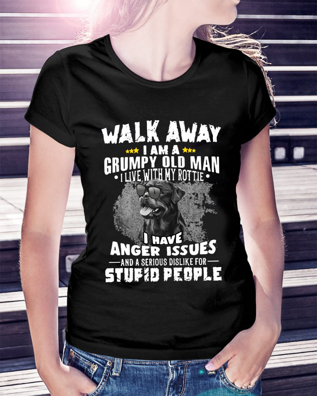 Walk away I am a grumpy old man I live with my Rottie Ladies Tee