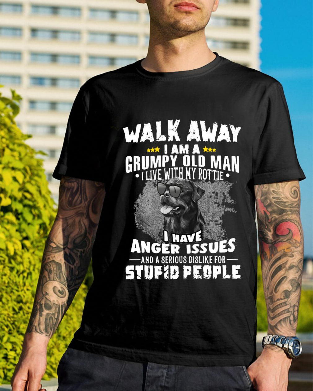 Walk away I am a grumpy old man I live with my Rottie shirt