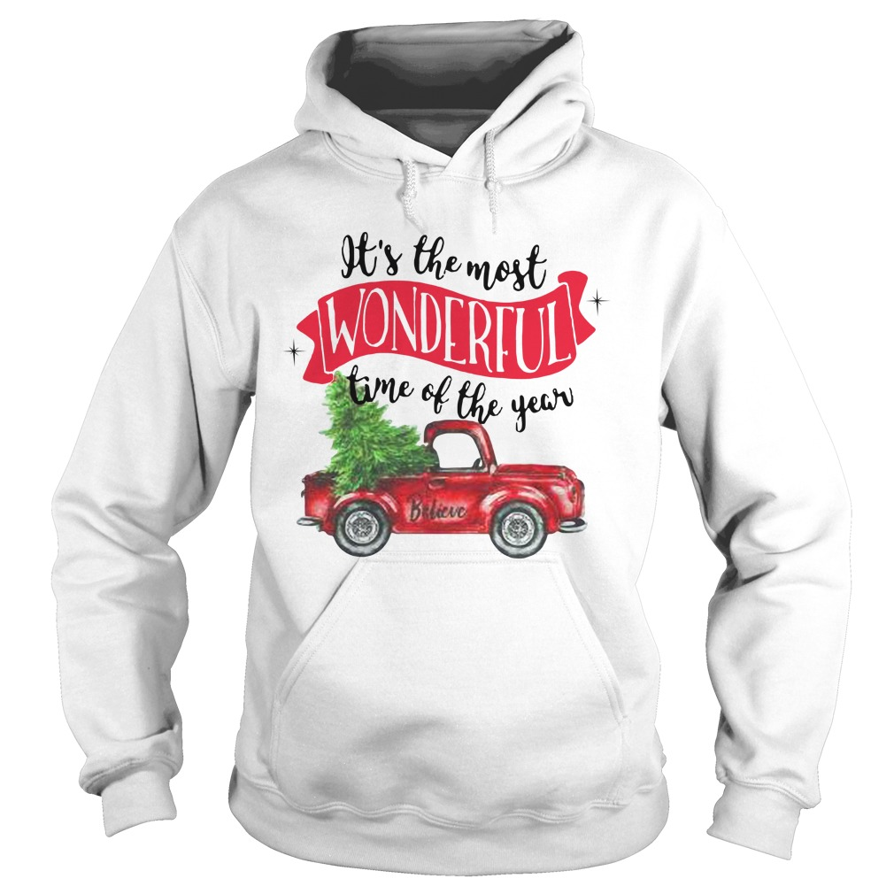 Wonderful time of the year Christmas tree red car believe Hoodie