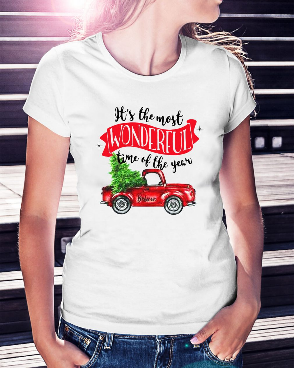 Wonderful time of the year Christmas tree red car believe Ladies Tee