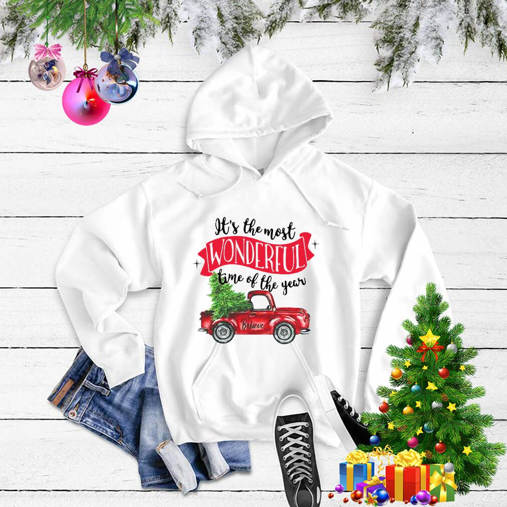 Wonderful time of the year Christmas tree red car believe shirt, sweater