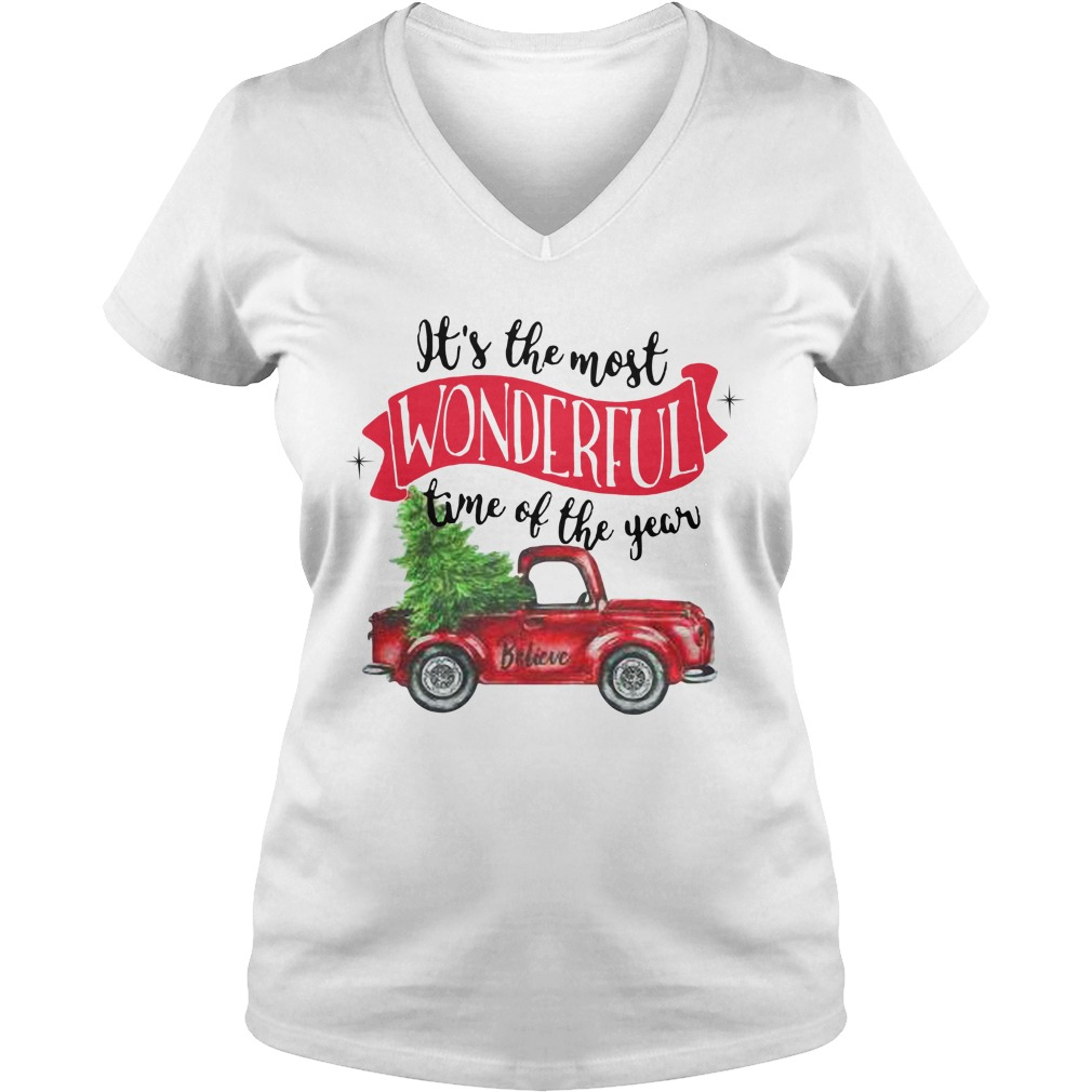 Wonderful time of the year Christmas tree red car believe V-neck T-shirt