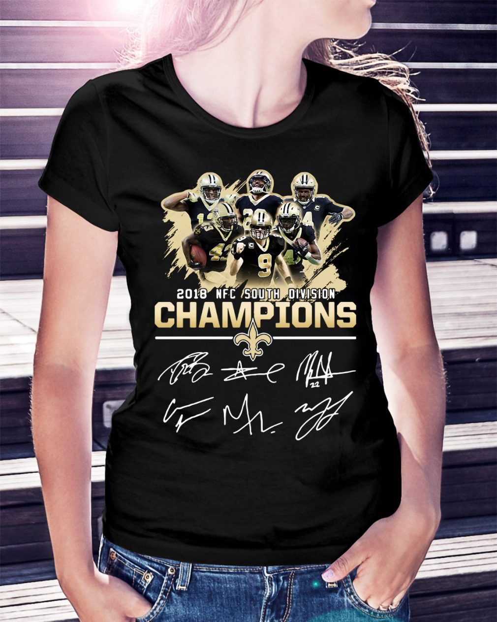 2018 NFC south division champions New Orleans Saints Ladies Tee