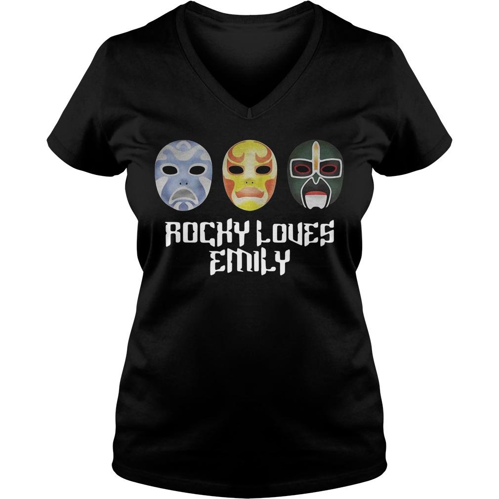 3 Ninjas Rocky loves Emily masks V-neck T-shirt