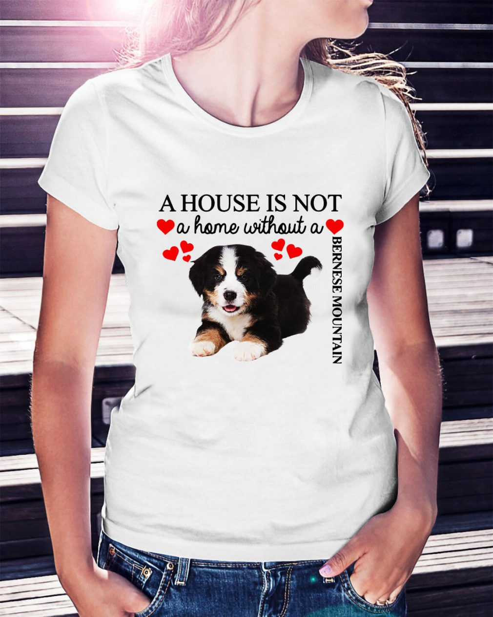 A house is not a home without a Bernese Mountain Ladies Tee
