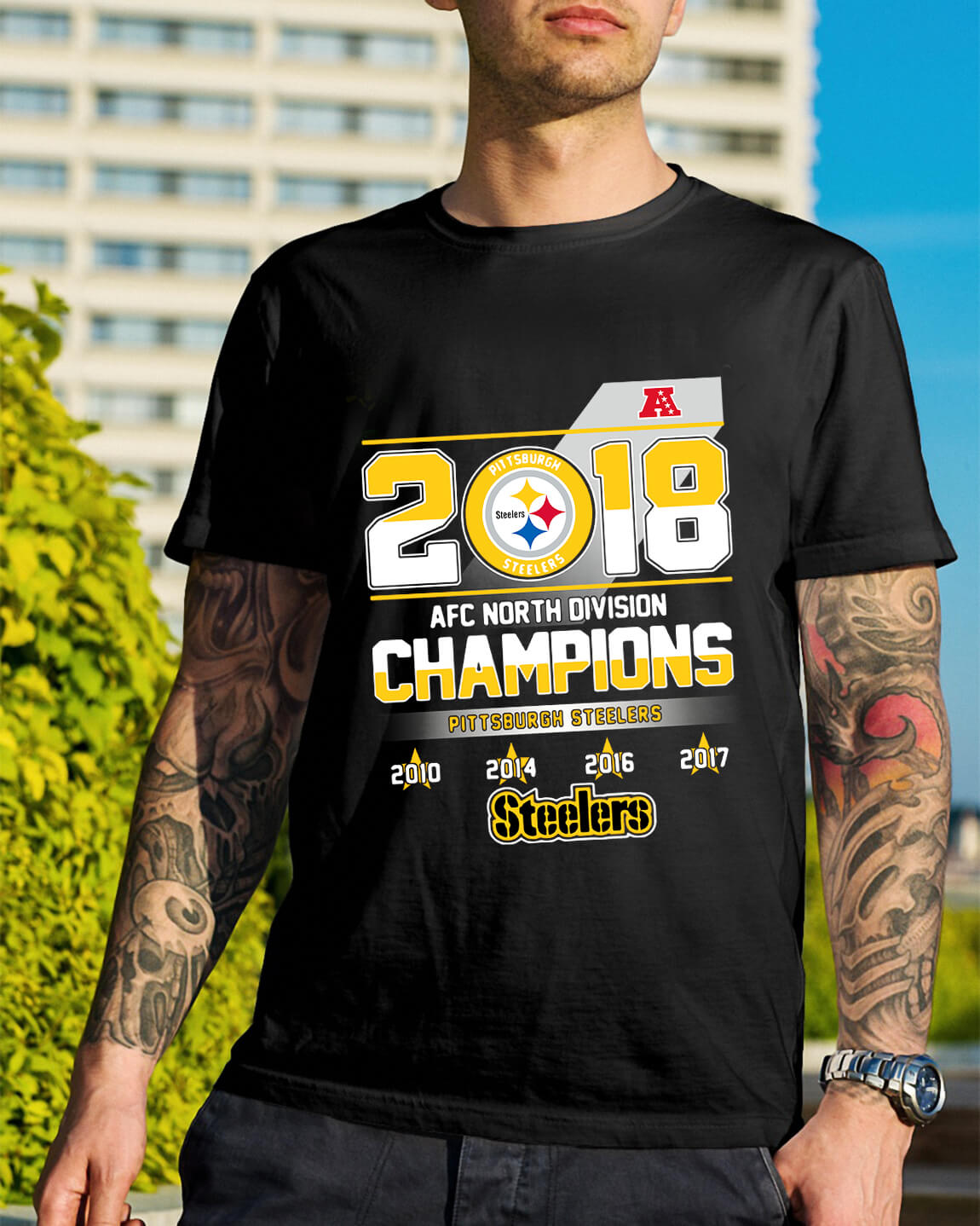 brand new 9c256 1c0ac AFC North Division Champions Pittsburgh Steelers shirt ...