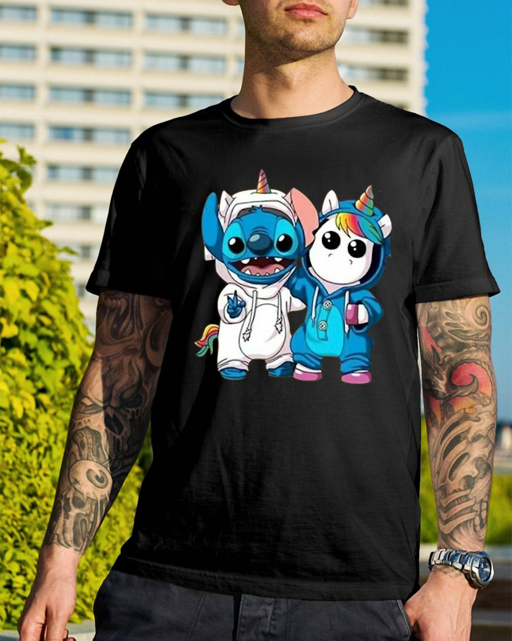 Baby Unicorn and Stitch best friend shirt