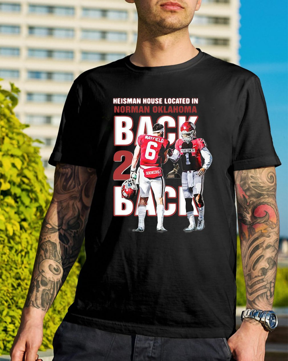 Baker Mayfield Heisman house located in Norman Oklahoma shirt