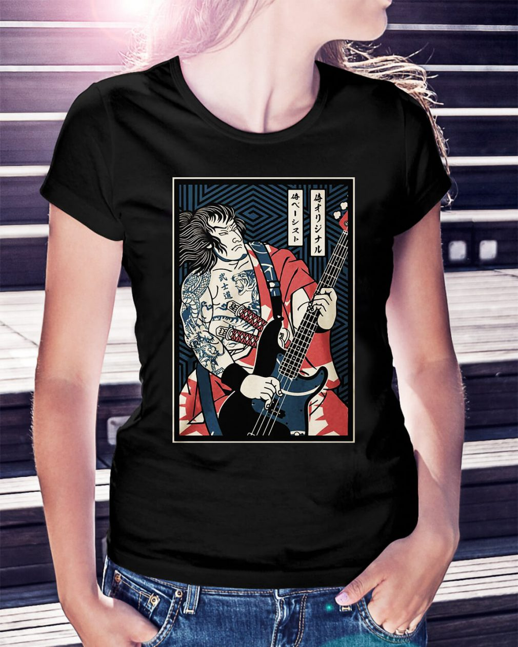 Bassist Samurai play guitar Ladies Tee
