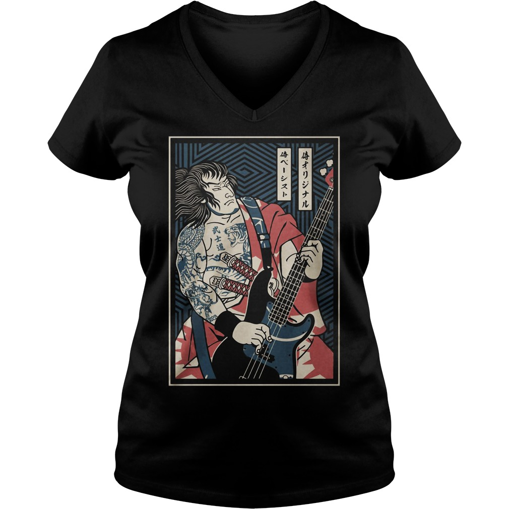 Bassist Samurai play guitar V-neck T-shirt