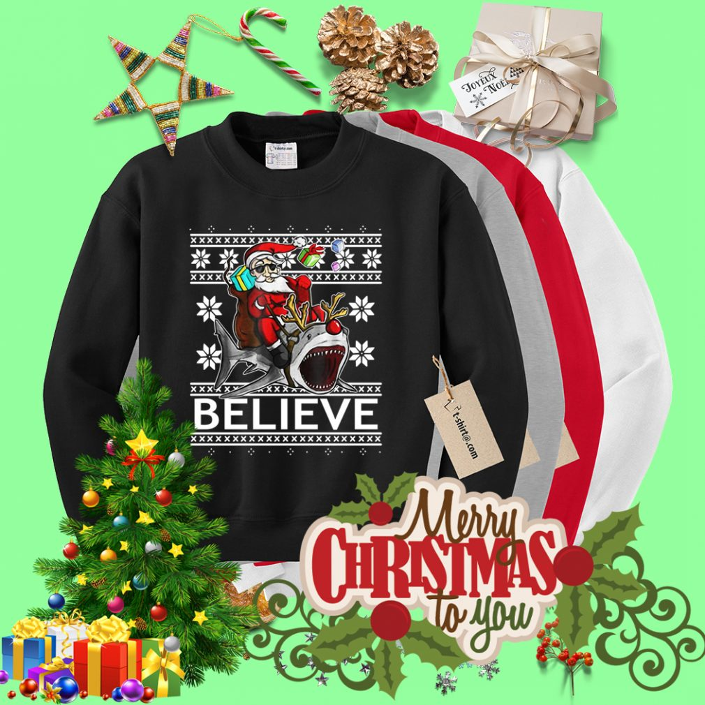 Believe in Santa riding Shark Christmas ugly sweater