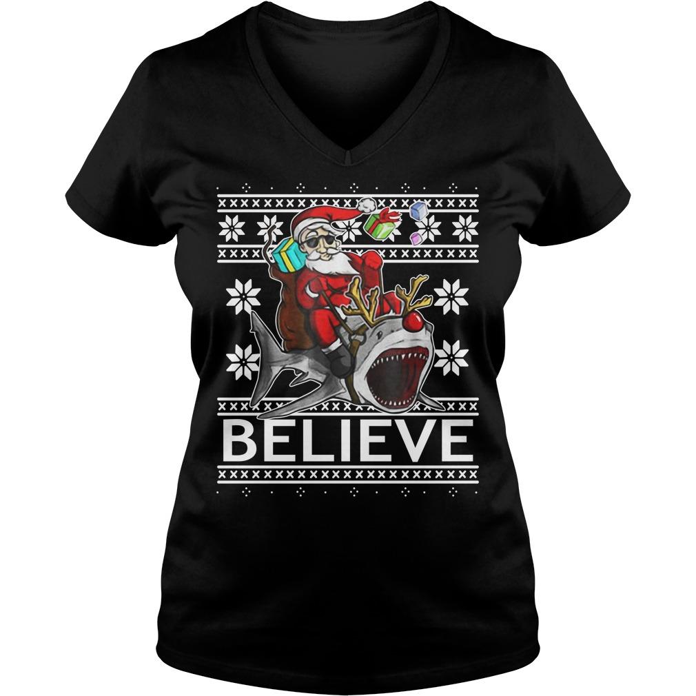 Believe in Santa riding Shark Christmas ugly V-neck T-shirt