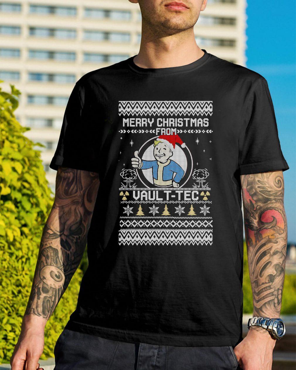 Bethesda Fallout Merry Christmas Vault-Tec ugly Guys Shirt