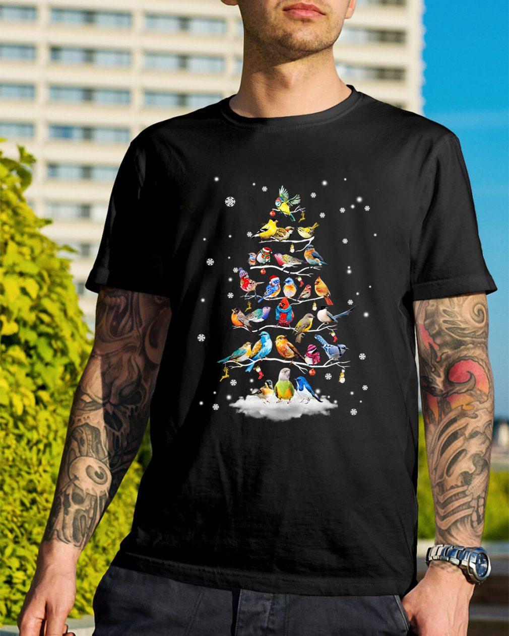 Bird Christmas tree Guys Shirt