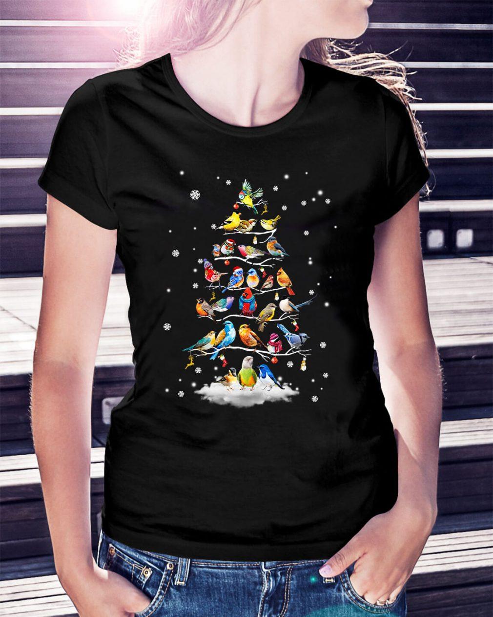 Bird Christmas tree Ladies Tee
