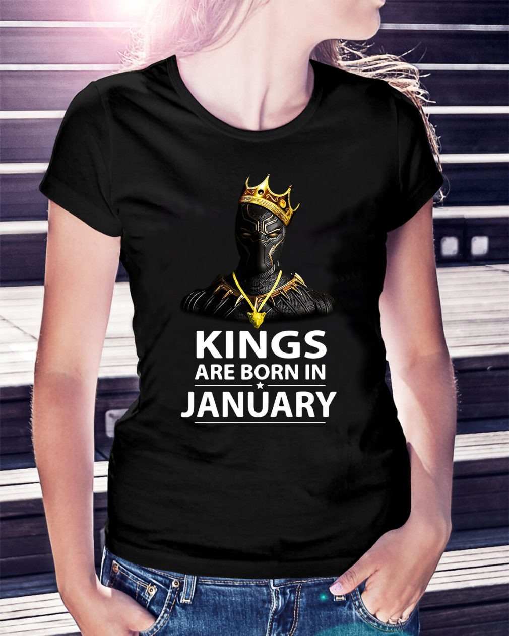Black Panther kings are born in January Ladies Tee