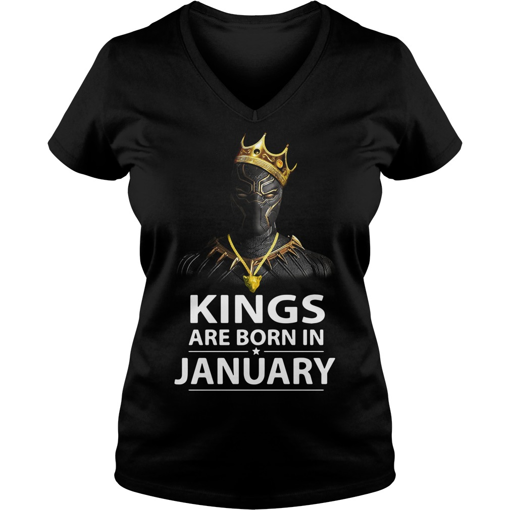Black Panther kings are born in January V-neck T-shirt