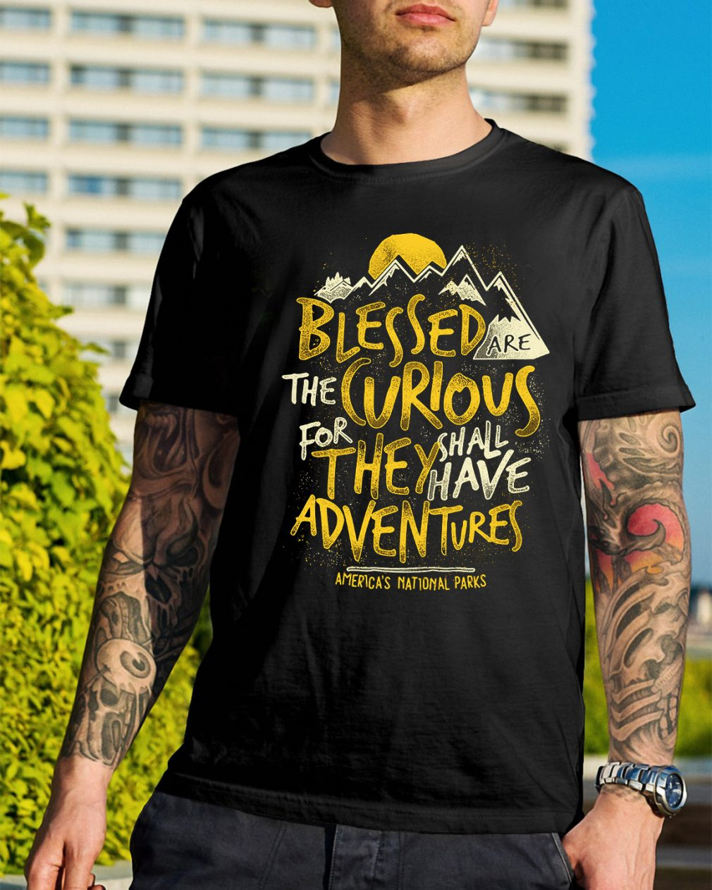 Blessed are the curious for they shall have adventures America's shirt