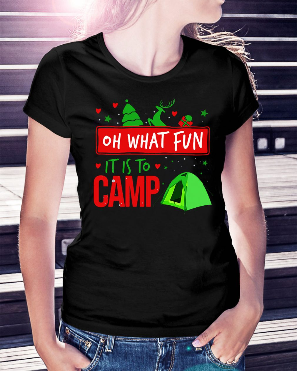 Camping oh what fun it is to camp Ladies Tee
