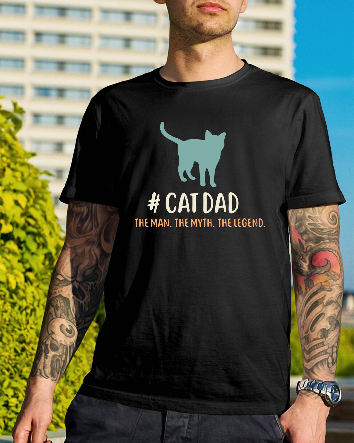 0ff2512a0 Cat dad the man the myth the legend shirt, hoodie, sweater