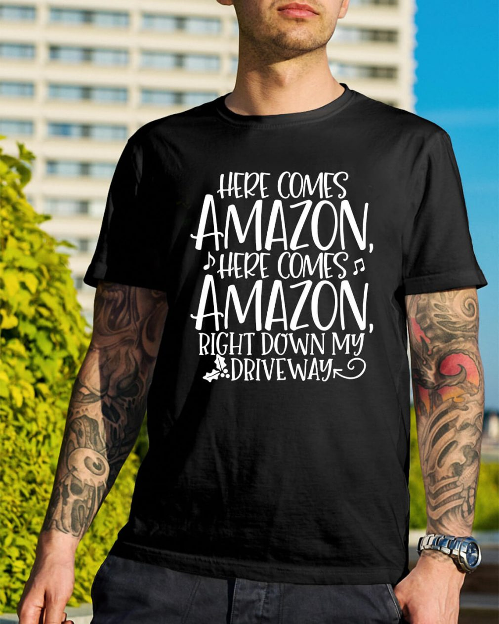 Here comes Amazon here comes Amazon right down Christmas shirt