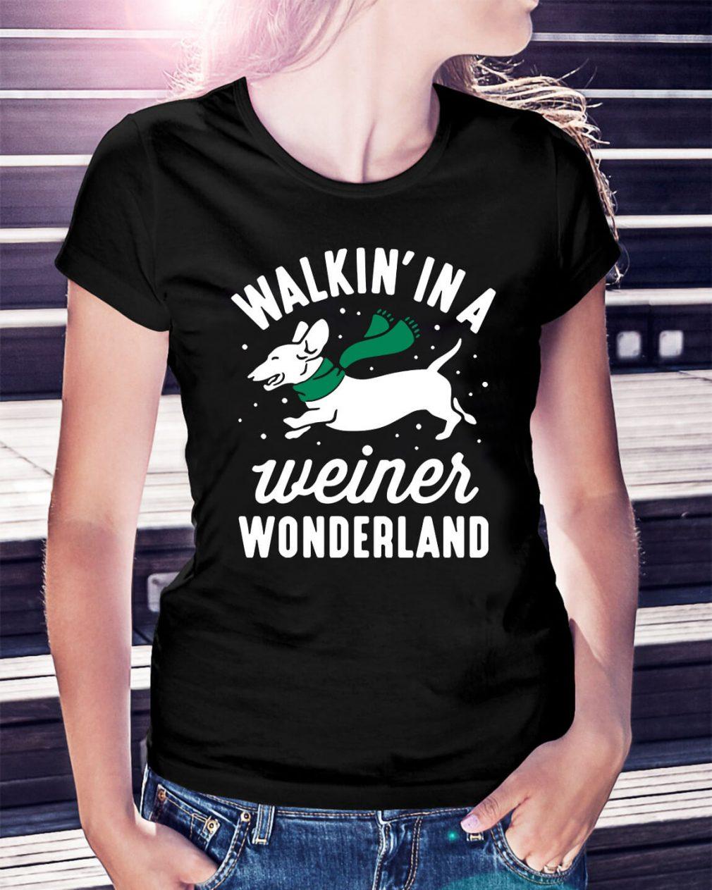 Dashunch walkin' in a Wiener wonderland Christmas Ladies Tee