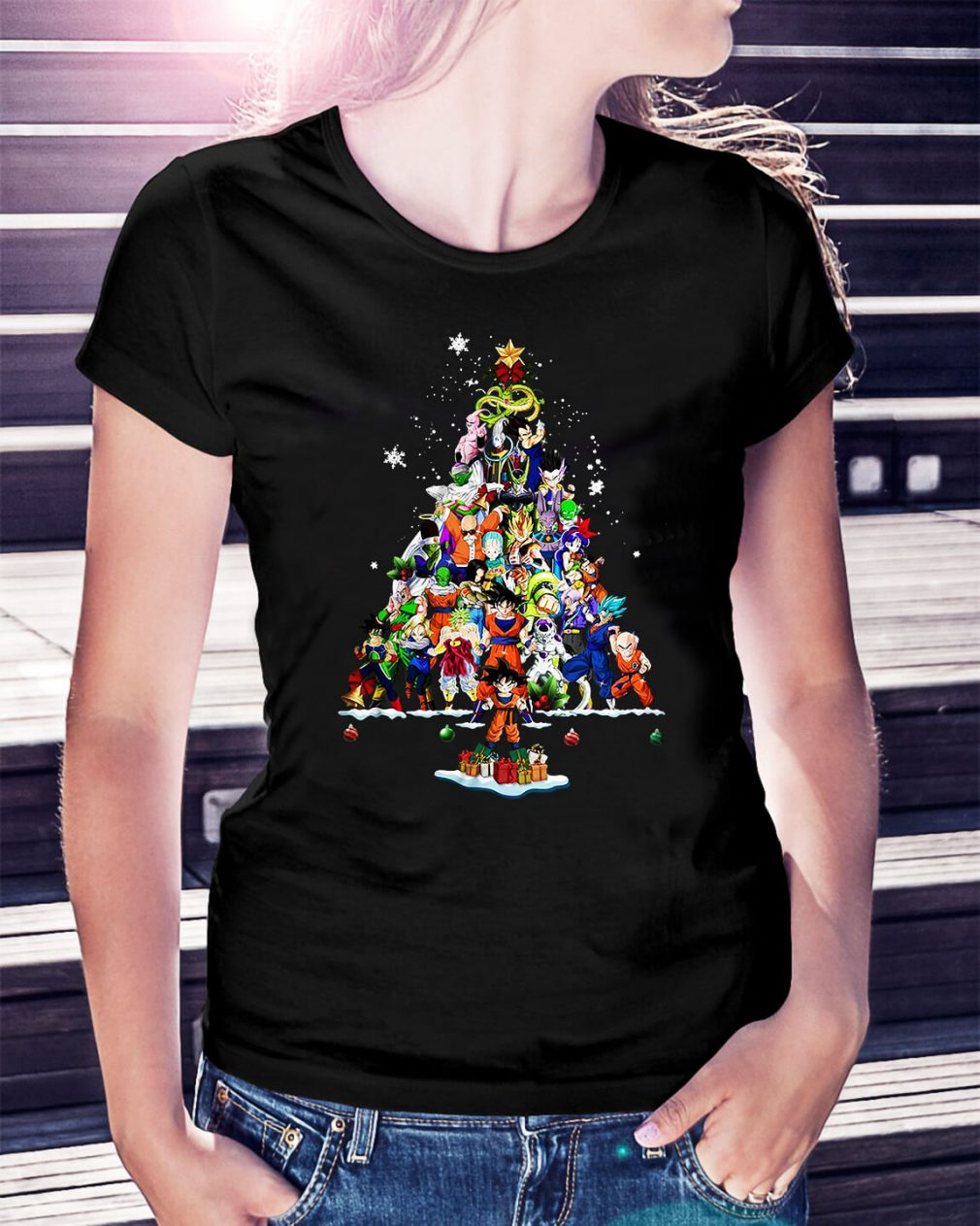 Dragon Ball Christmas tree Ladies Tee