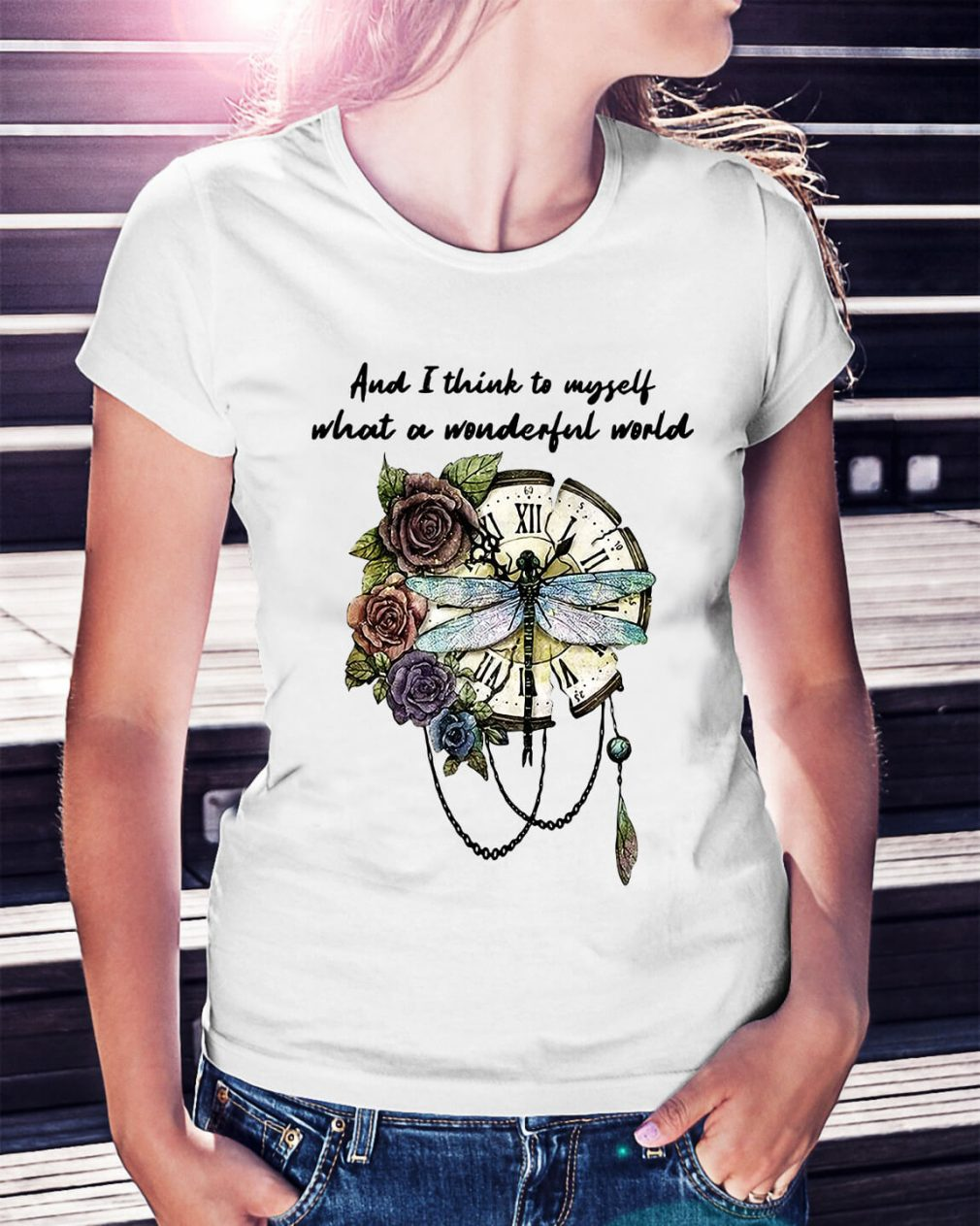 Dragonfly clock and I think to myself what a wonderful world Ladies Tee