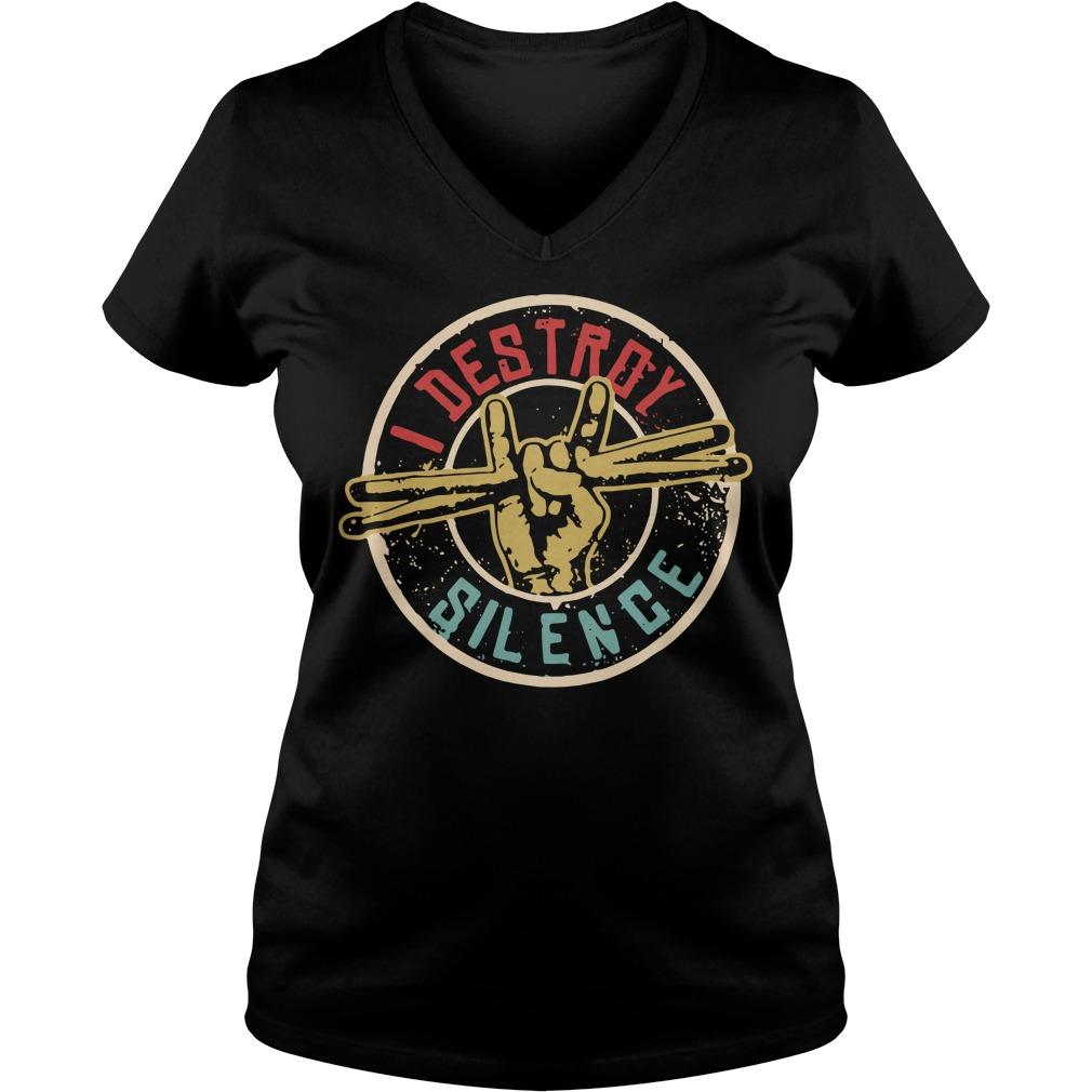 Drummer I destroy silence V-neck T-shirt