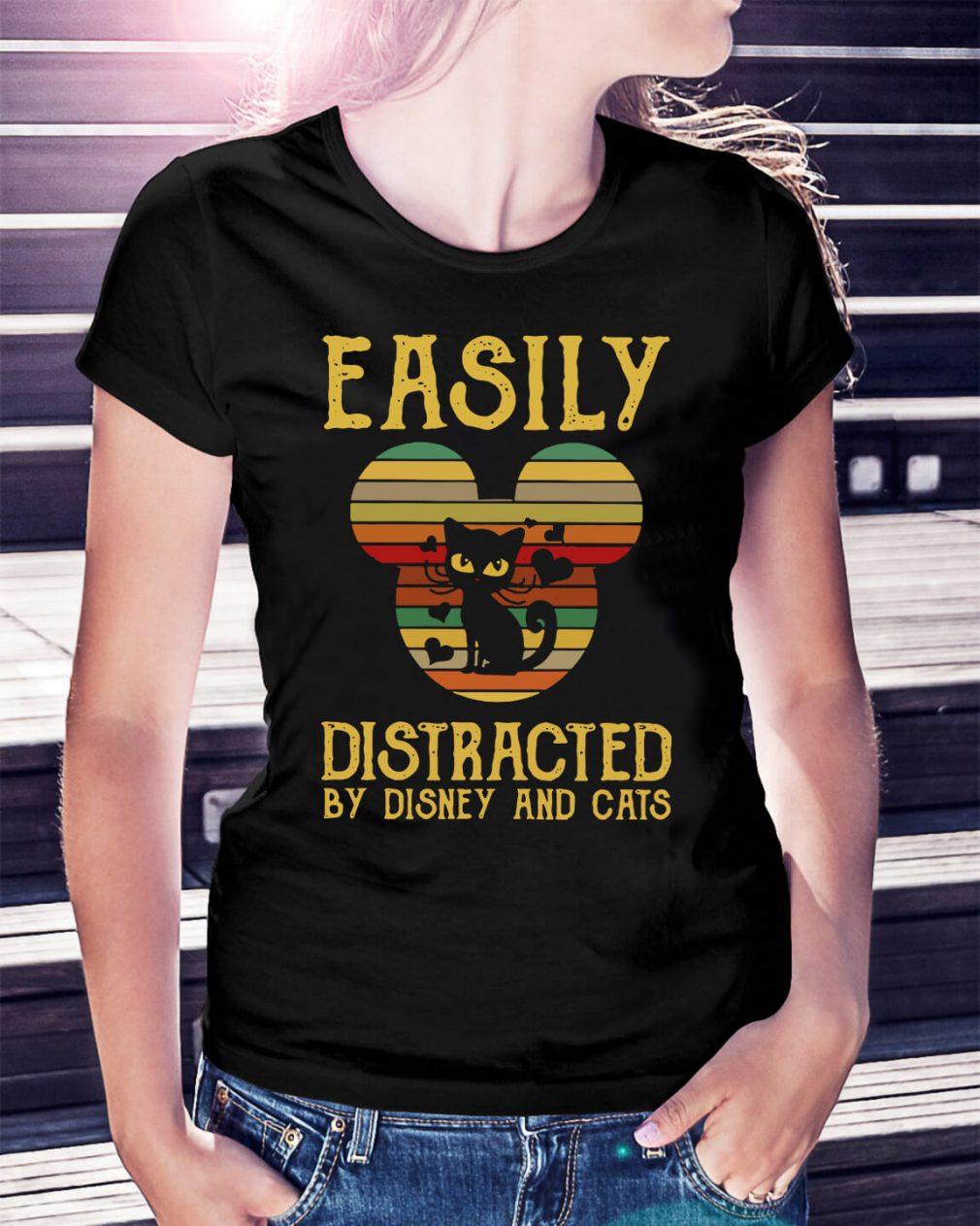 Easily distracted by Disney and cats Ladies Tee
