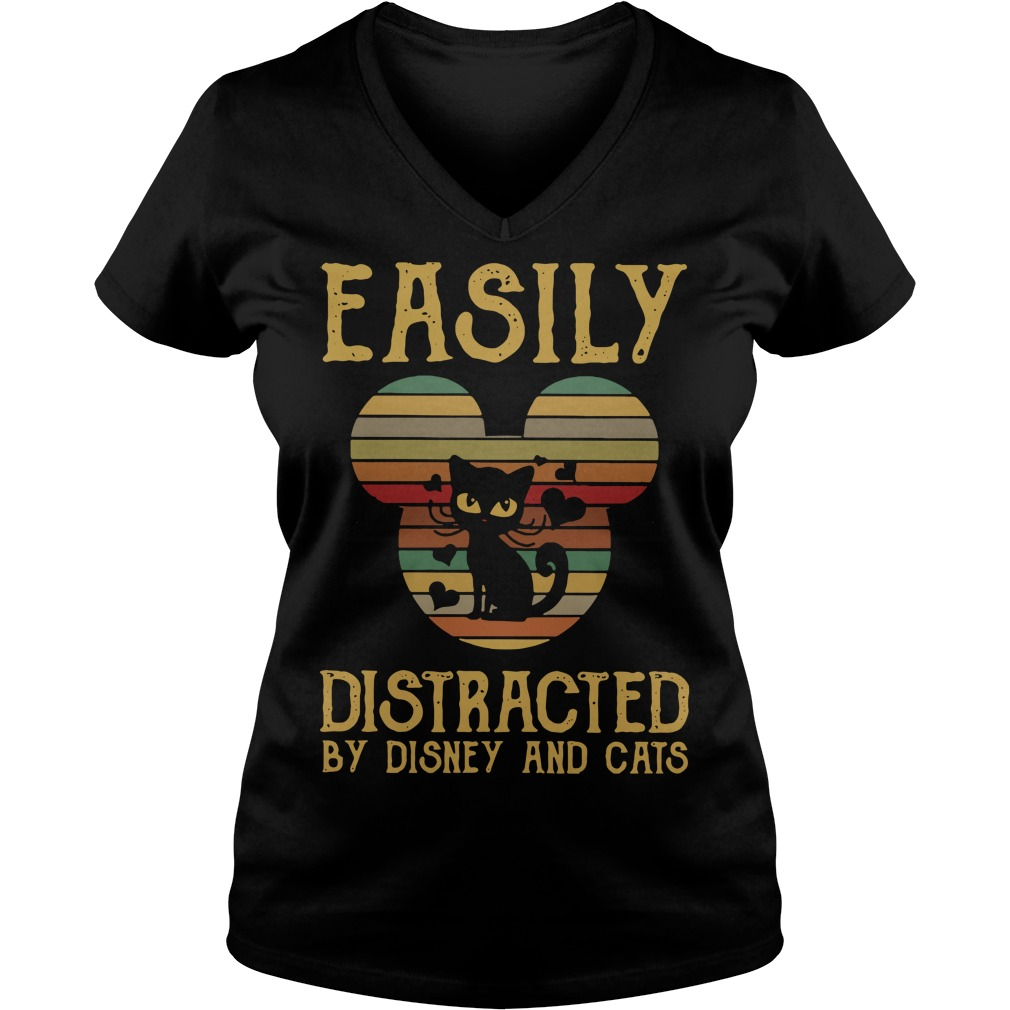 Easily distracted by Disney and cats V-neck T-shirt