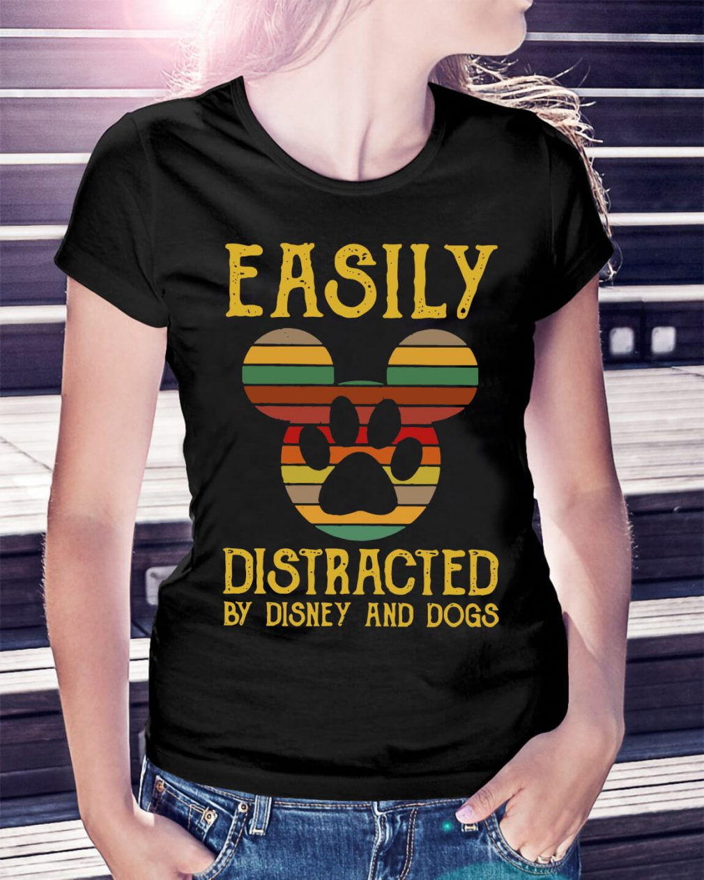 Easily distracted by Disney and dogs Ladies Tee