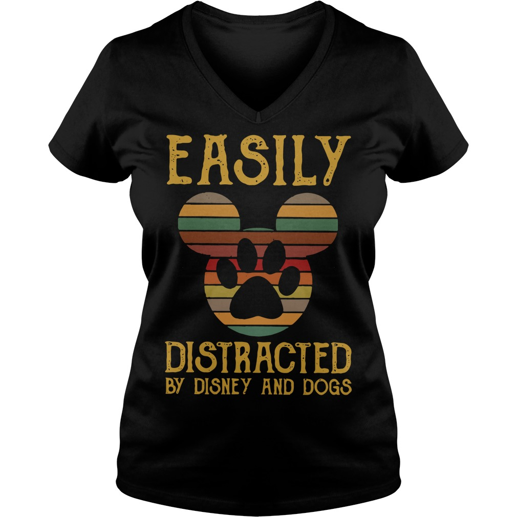 Easily distracted by Disney and dogs V-neck T-shirt