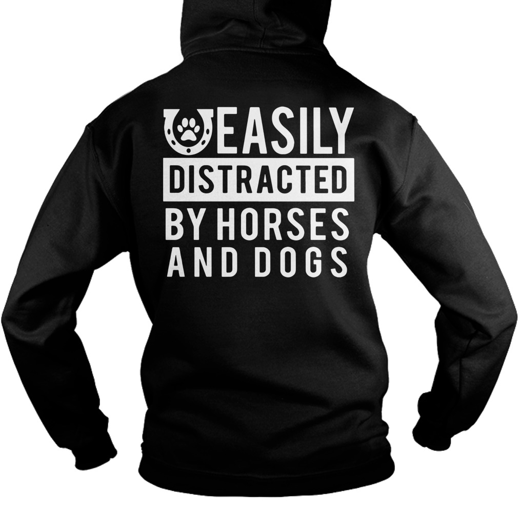 Easily distracted by Horses and dogs Hoodie Front Mockup