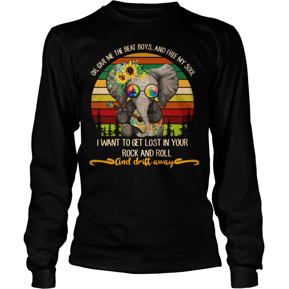 Elephant playing guitar oh give me the beat boys and free my soul Longsleeve Tee