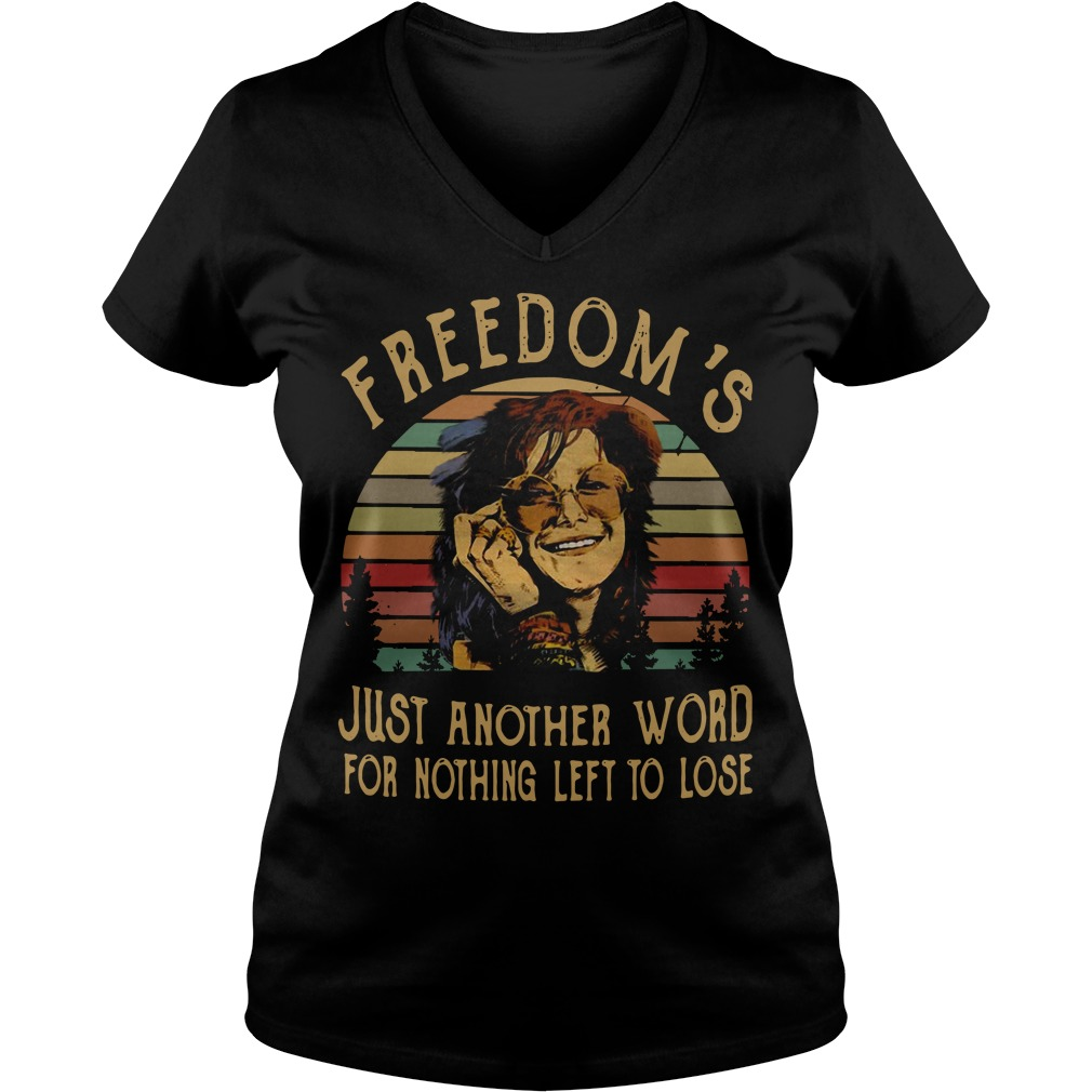 Freedom's just another word for nothing left to lose sunset retro V-neck T-shirt