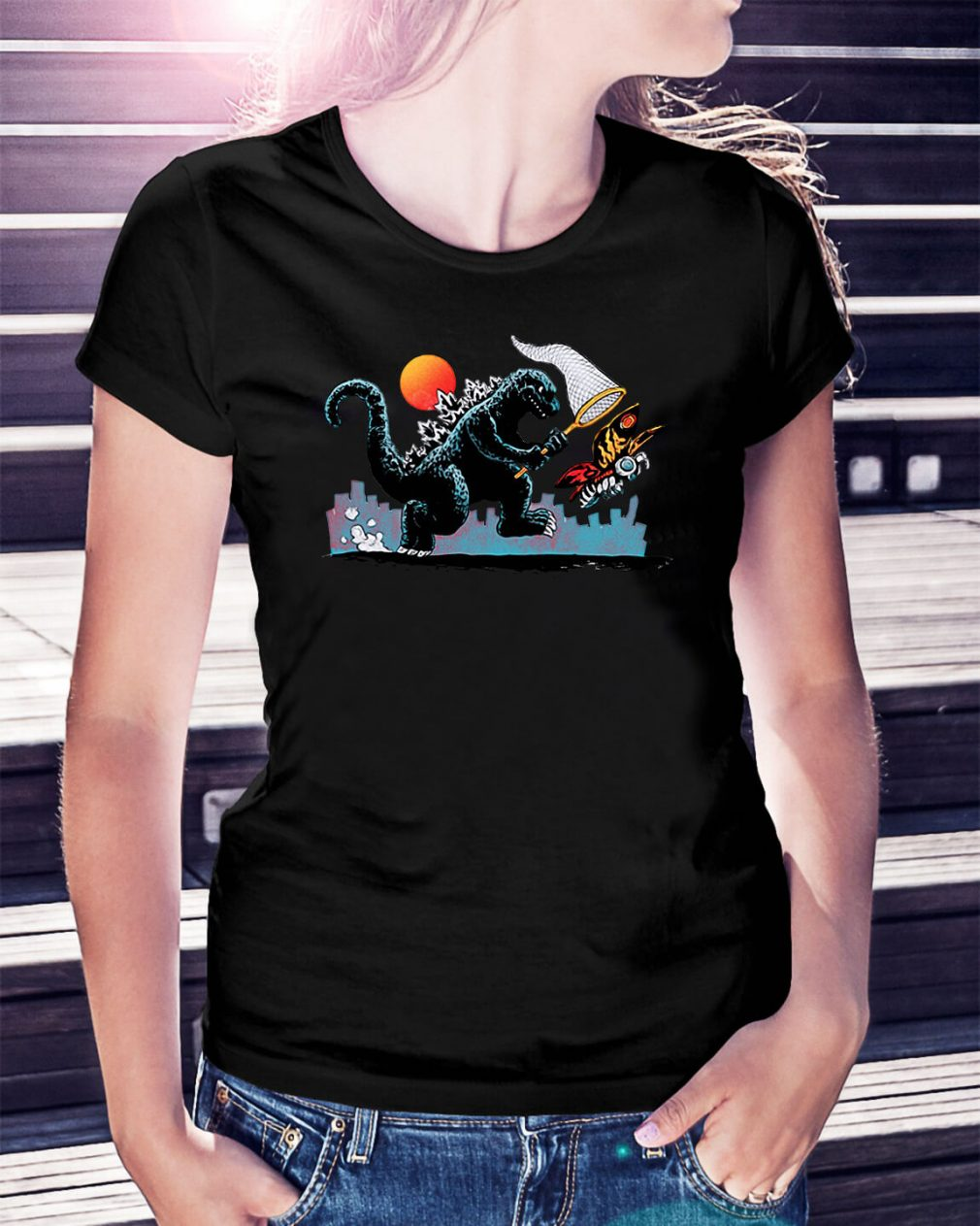 Godzilla catching Kaiju Ladies Tee