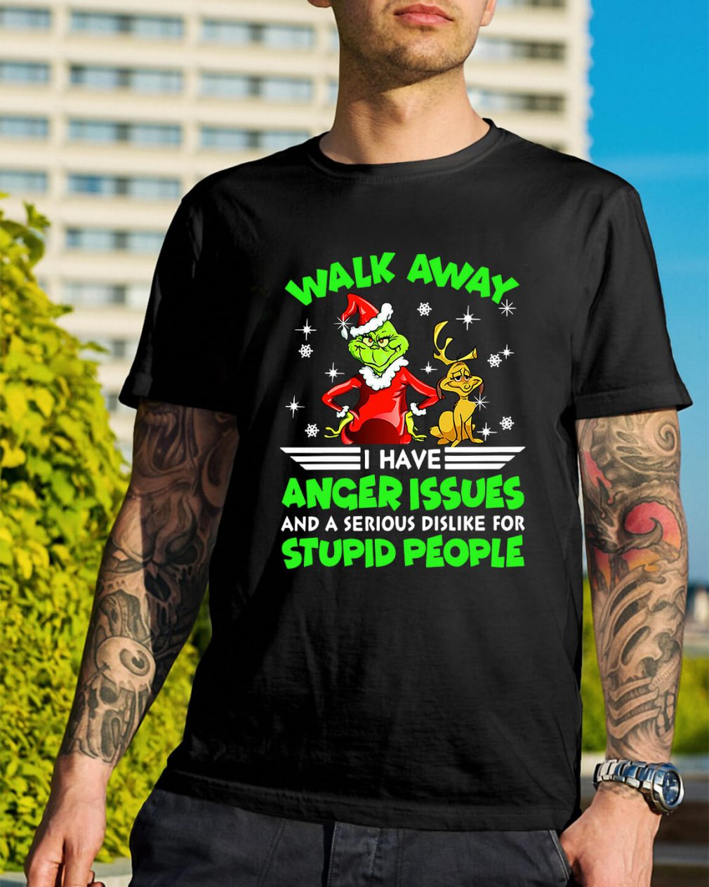 Grinch and Max walk away I have anger issues Guys Shirt