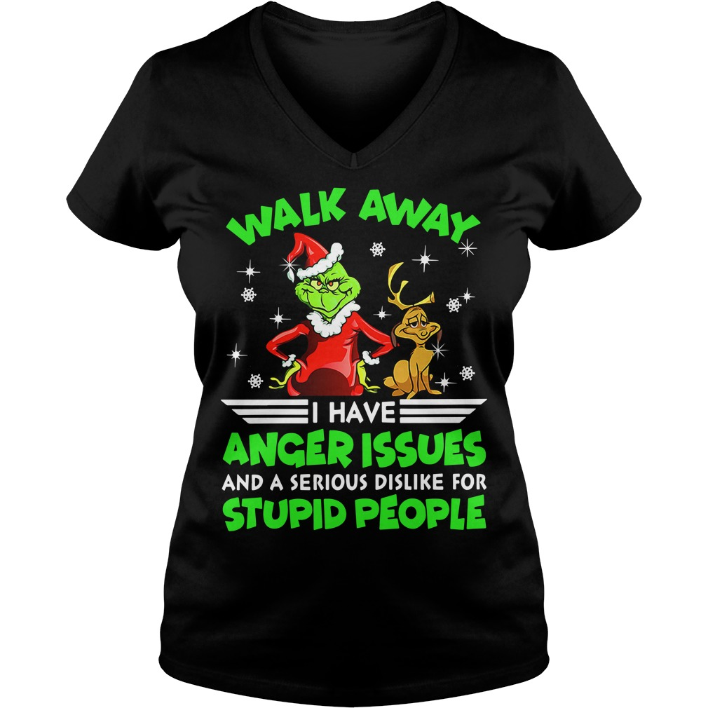 Grinch and Max walk away I have anger issues V-neck T-shirt