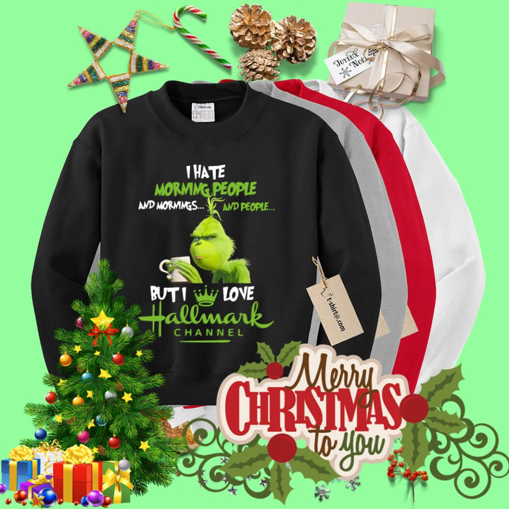 Grinch I hate mornings people and I love Hallmark Chanel Christmas Sweater