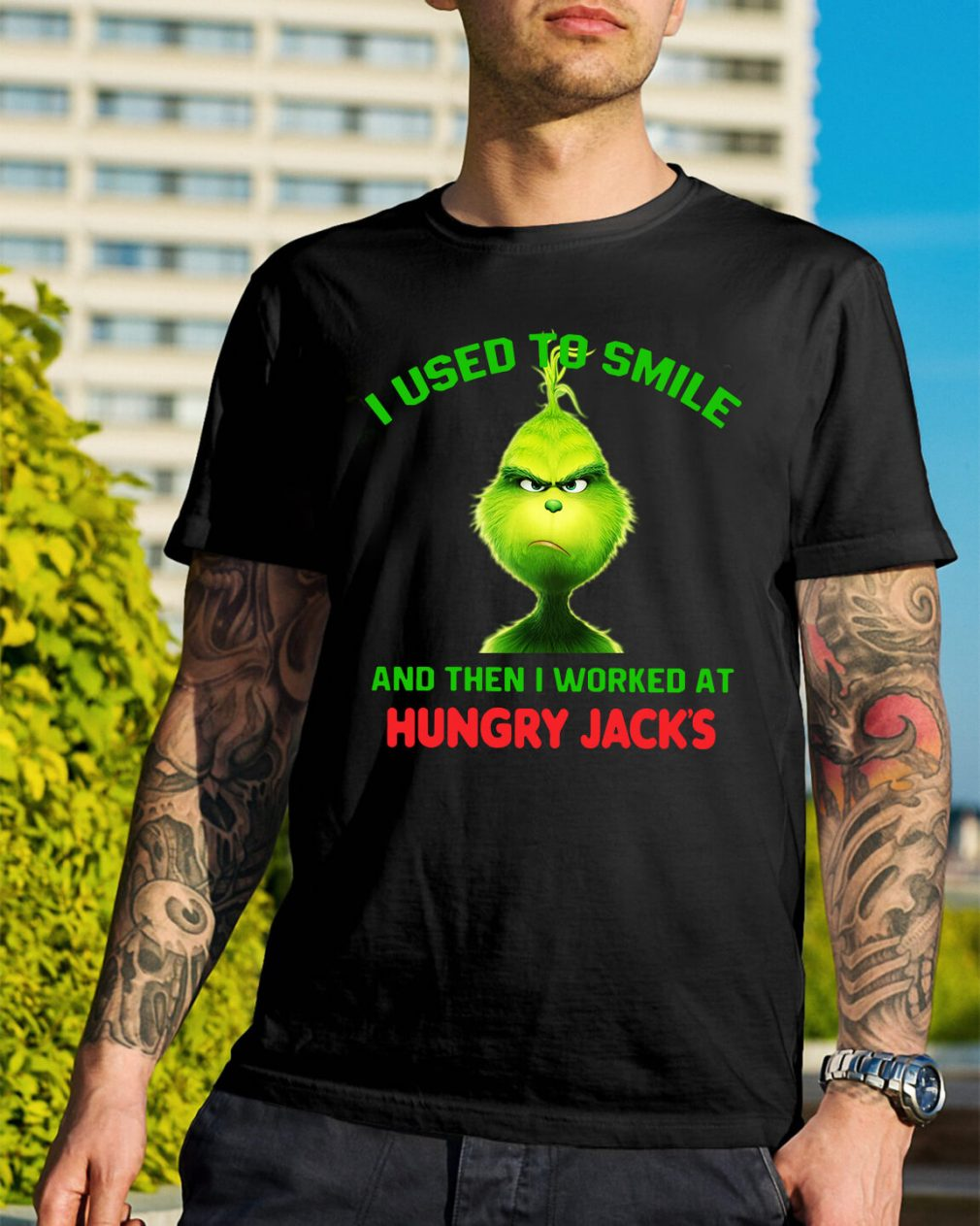 Grinch I used to smile and then I worked at Hungry Jack's Christmas shirt