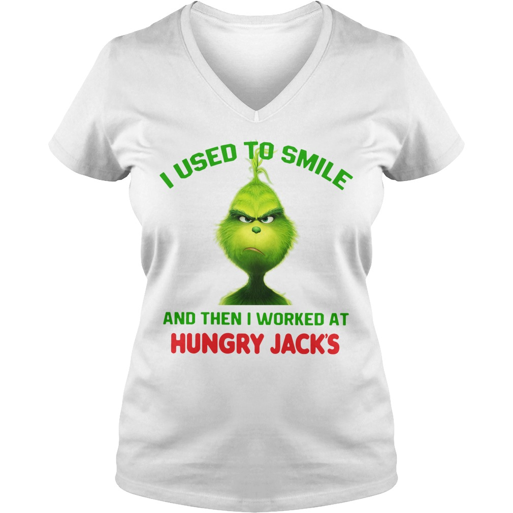 Grinch I used to smile and then I worked at Hungry Jack's Christmas V-neck T-shirt