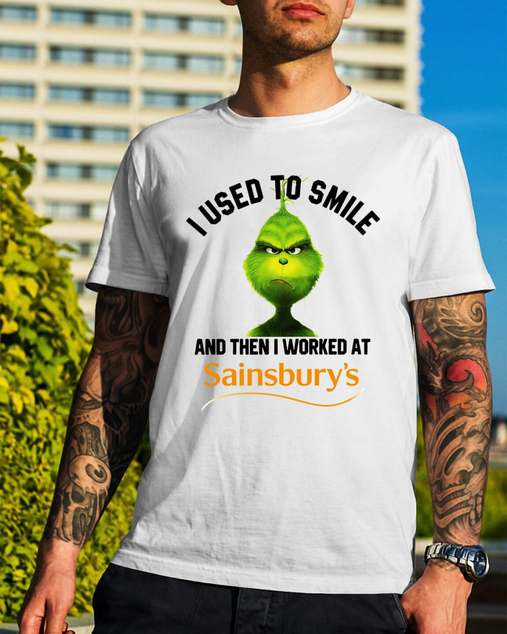 Grinch I used to smile and then I worked at Sainsbury's Christmas shirt