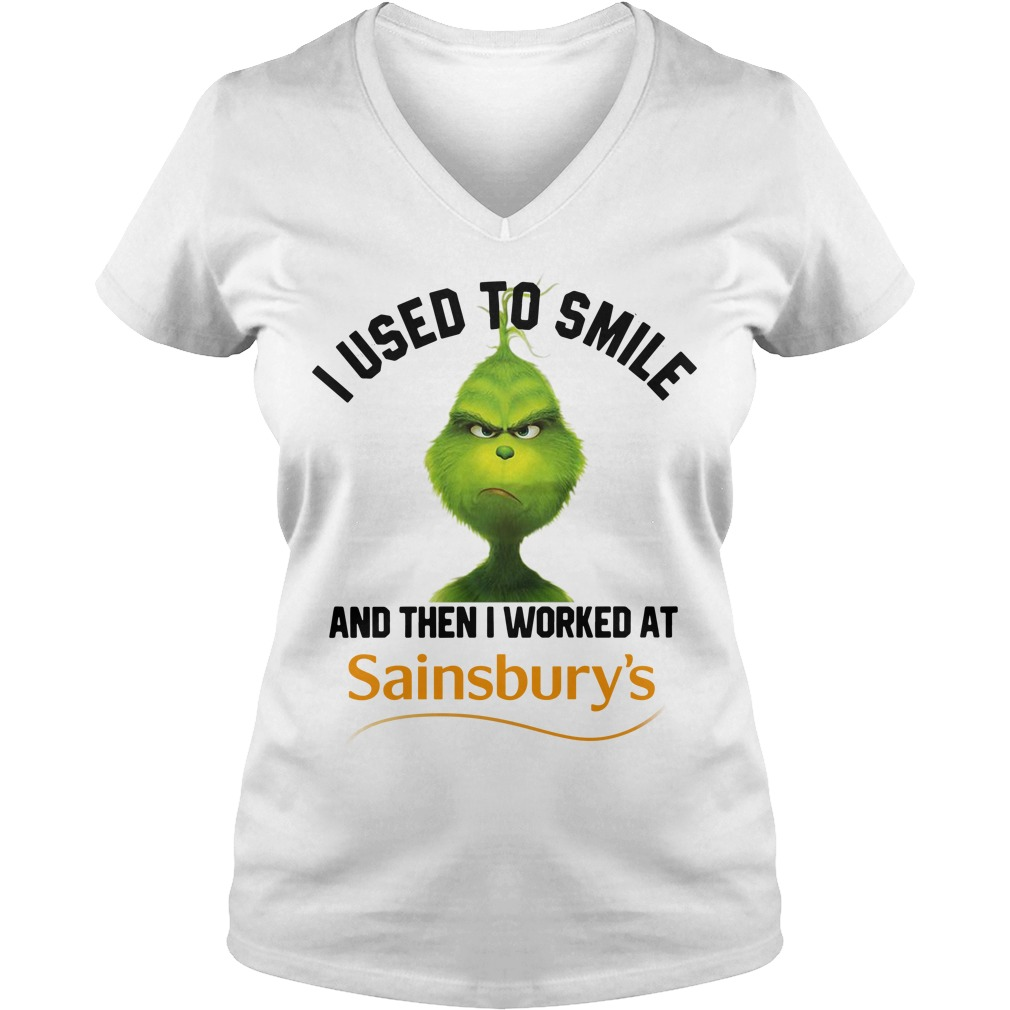 Grinch I used to smile and then I worked at Sainsbury's Christmas V-neck T-shirt
