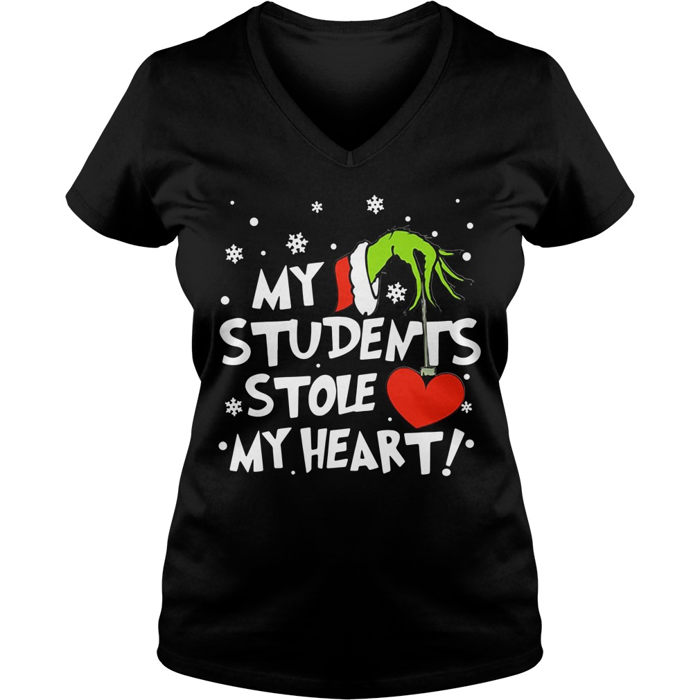 Grinch my students stole my heart Christmas V-neck T-shirt